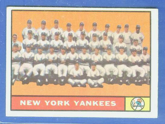 1961 Topps #228 Yankees TEAM card Baseball cards value