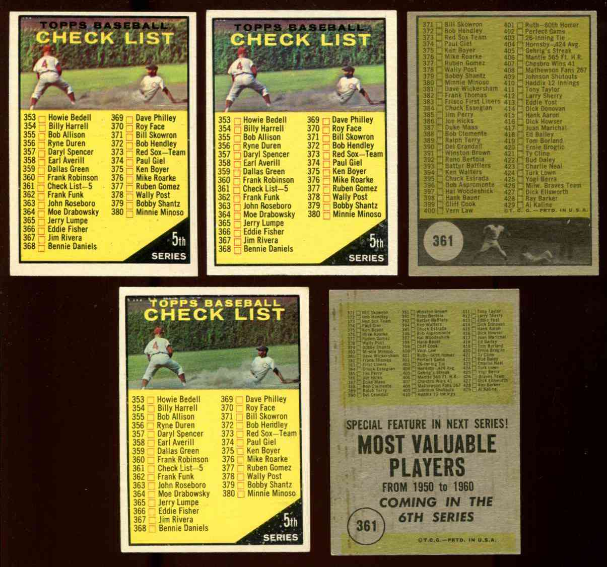 1961 Topps #361A Checklist #5 (VAR:Topps black on front) w/Ernie Banks Baseball cards value