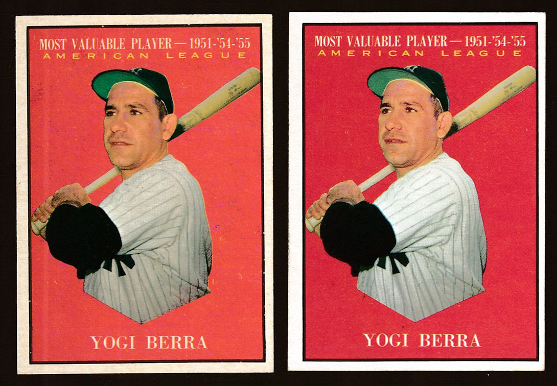 1961 Topps #472 Yogi Berra MVP SHORT PRINT (Yankees) Baseball cards value