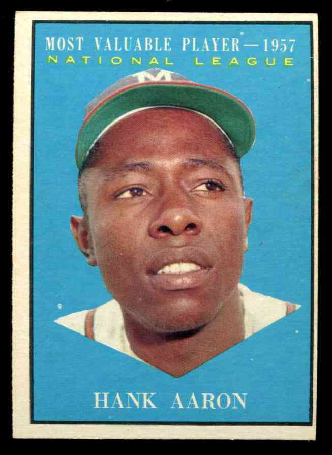 1961 Topps #484 Hank Aaron MVP (Braves) Baseball cards value