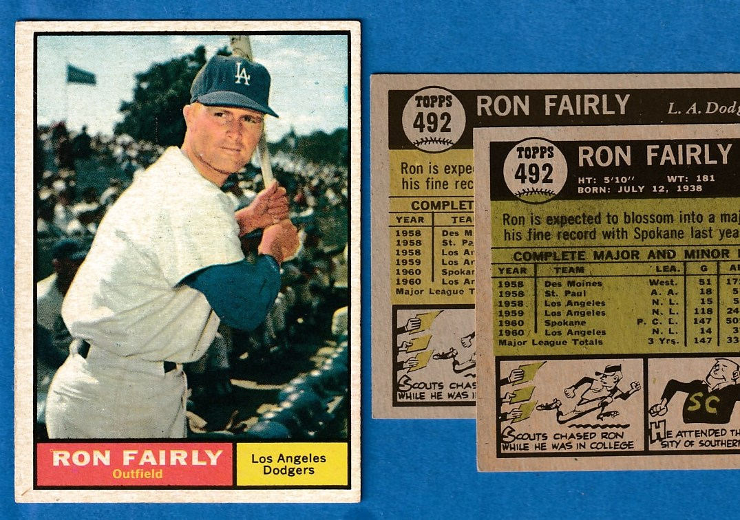 1961 Topps #492A Ron Fairly [VAR:normal] (Dodgers) Baseball cards value