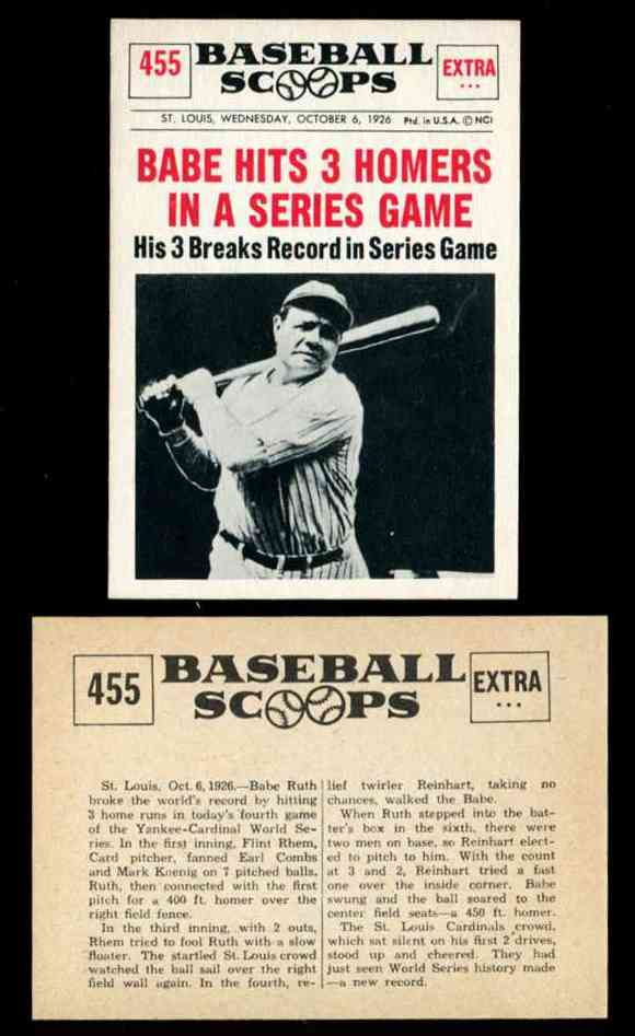 1961 Nu Card Scoops 455 Babe Ruth Yankees