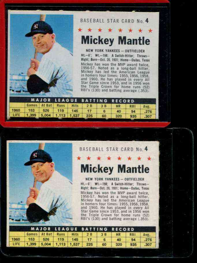 1961 Post #..4 Mickey Mantle [COM] [#a] (Yankees) Baseball cards value