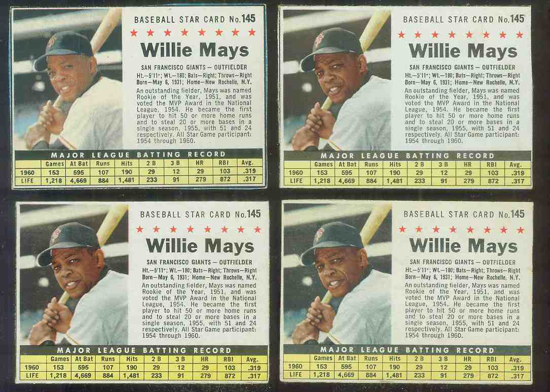 1961 Post #145 Willie Mays [BOX] [#c] (Giants) Baseball cards value