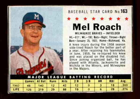 1961 Post #163 Mel Roach [BOX ONLY] (Dodgers) Baseball cards value