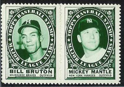 MICKEY MANTLE - 1961 Topps Stamps COMPLETE 2-STAMP PANEL (Yankees) Baseball cards value