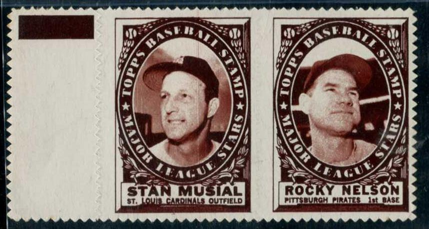 STAN MUSIAL/Rocky Nelson - 1961 Topps STAMP PANEL with TAB ! Baseball cards value