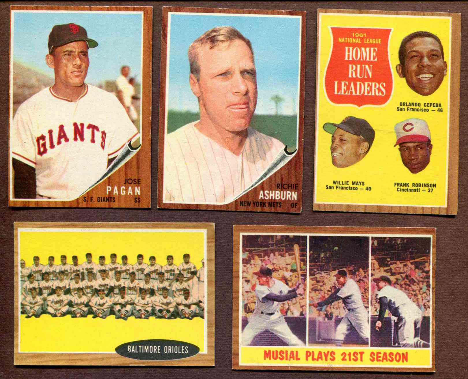 1962 Topps #317 Stan Musial In-Action [#x] (Cardinals) Baseball cards value
