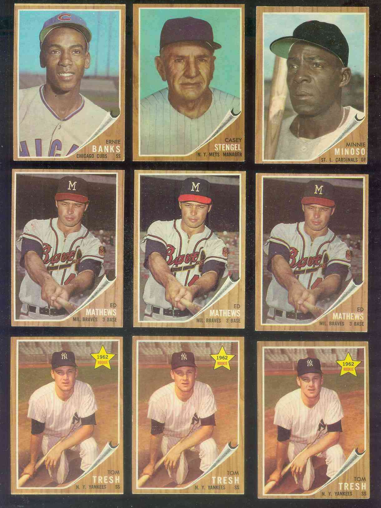 1962 Topps #.30 Eddie Mathews [#b] (Braves) Baseball cards value