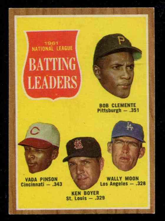 1962 Topps # 52 N.L. Batting Leaders [#a] (Roberto Clemente) Baseball cards value