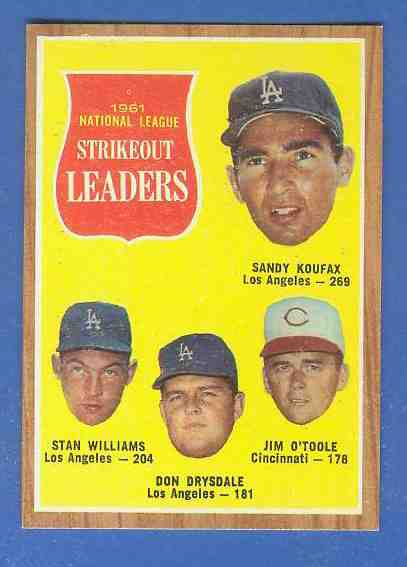 1962 Topps #.60 N.L. Strikeout Leaders (Sandy Koufax/Don Drysdale) Baseball cards value