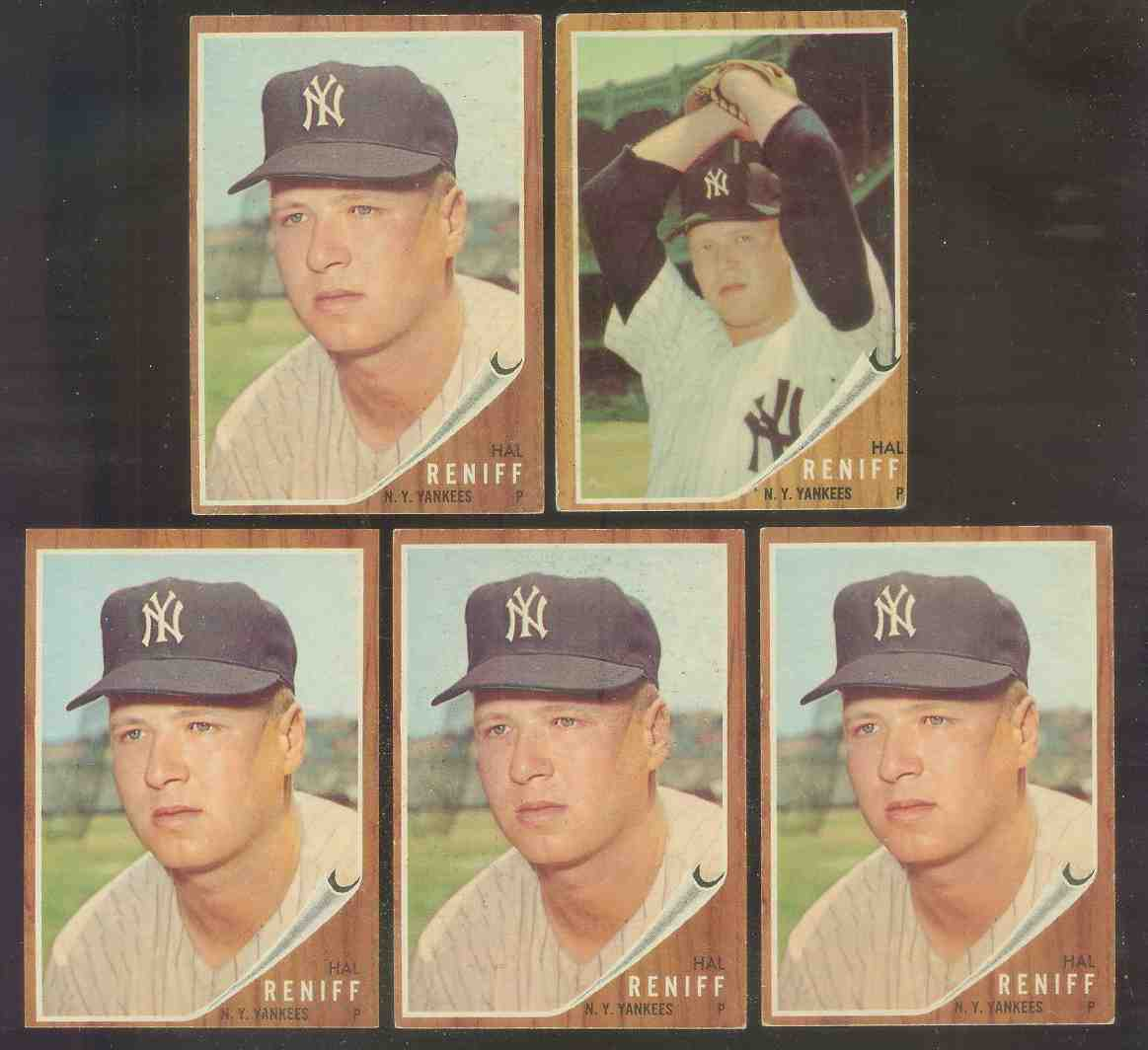 1962 Topps #139B Hal Reniff ROOKIE [VAR: Portrait) (Yankees) Baseball cards value