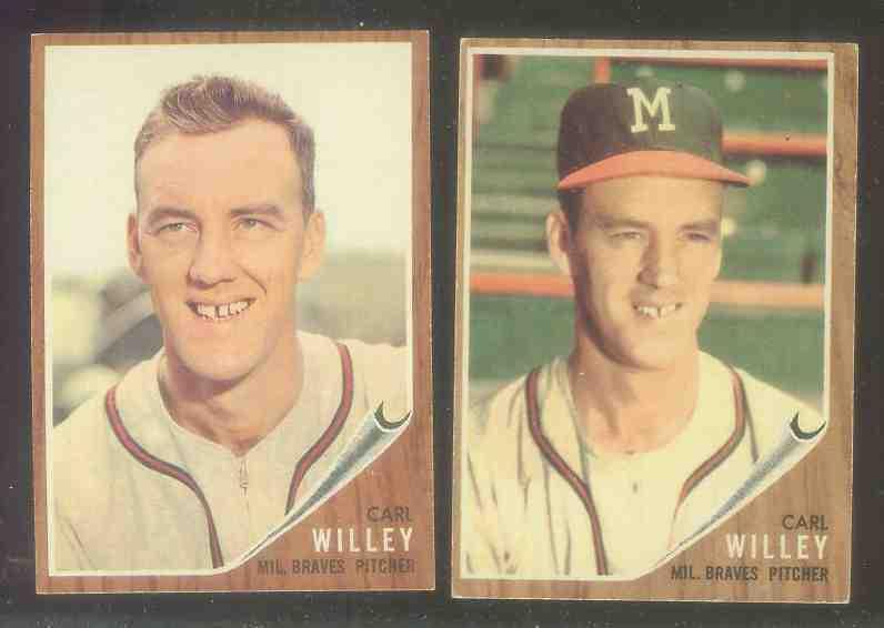 1962 Topps #174B Carl Willey (With Cap GREEN TINT Variation) (Braves) Baseball cards value