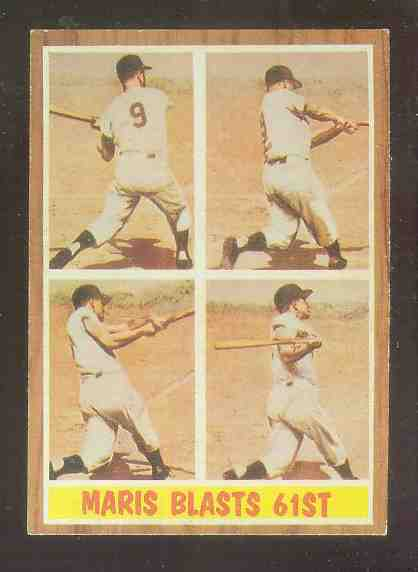 1962 Topps #313 Roger Maris In-Action [#a] (Yankees) Baseball cards value