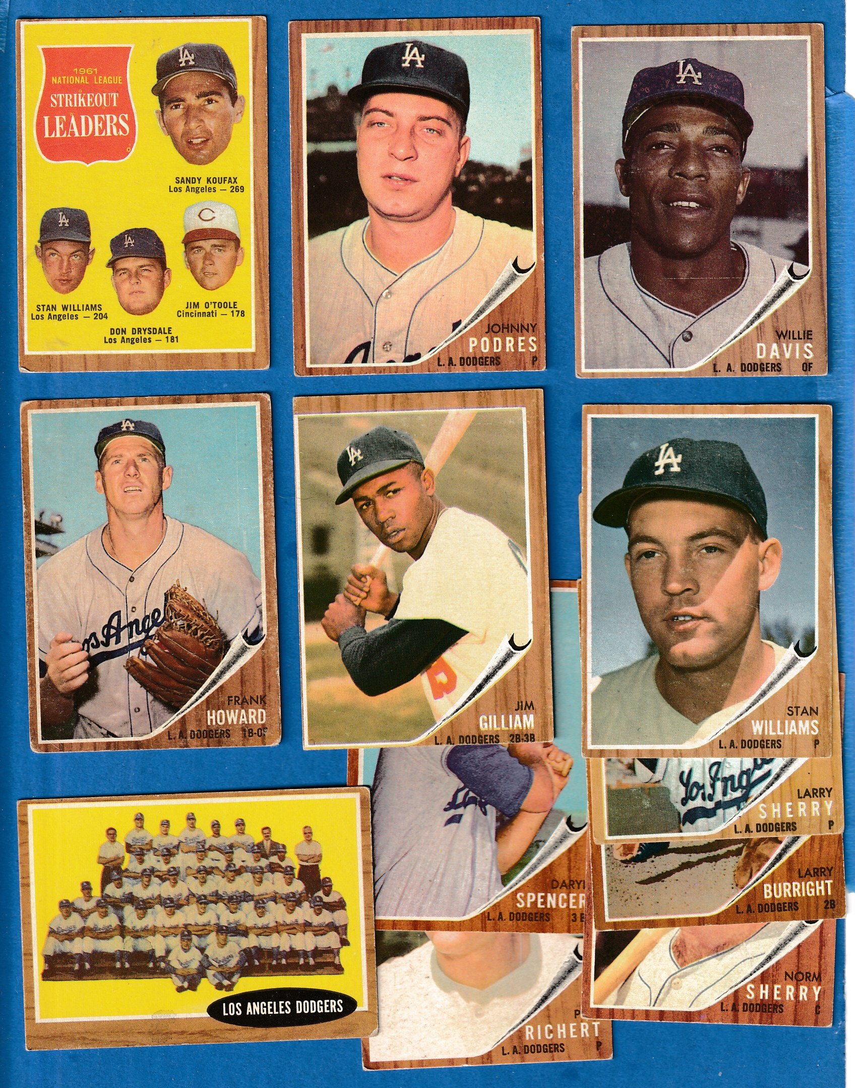 1962 Topps  - DODGERS Starter Team Set/Lot - (12) different Baseball cards value