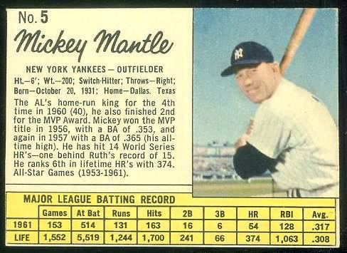 1962 Jello #..5 MICKEY MANTLE (Yankees) Baseball cards value
