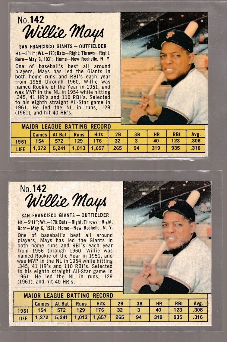 1962 Jello #142 WILLIE MAYS (Giants) Baseball cards value