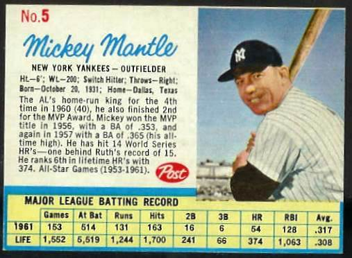 1962 Post #..5A Mickey Mantle [#b] (Yankees) Baseball cards value