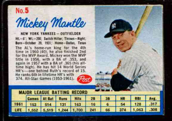 1962 Post #..5A Mickey Mantle [#c] (Yankees) Baseball cards value