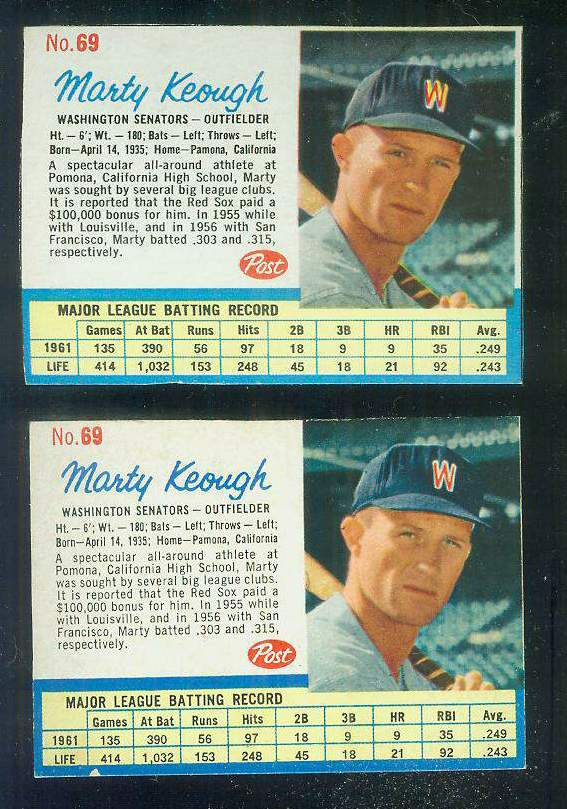 1962 Post #.69 Marty Keough SCARCE SHORT PRINT [#a] (Senators) Baseball cards value
