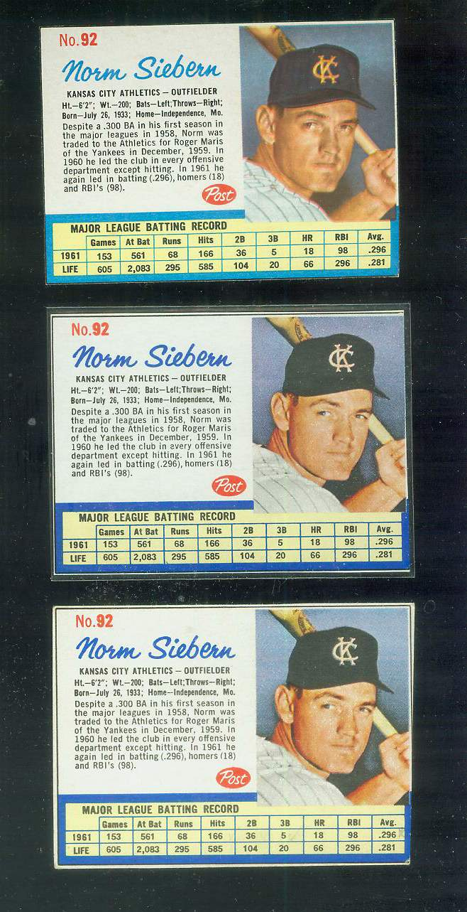 1962 Post #.92 Norm Siebern RARE SHORT PRINT [#b-middle] (Kansas City A's) Baseball cards value