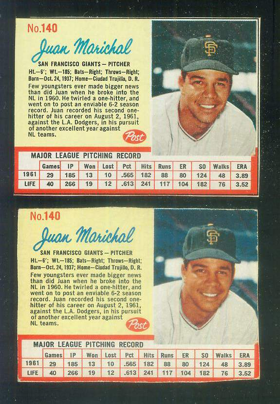1962 Post #140 Juan Marichal RARE SHORT PRINT [#a-top] (Giants) Baseball cards value