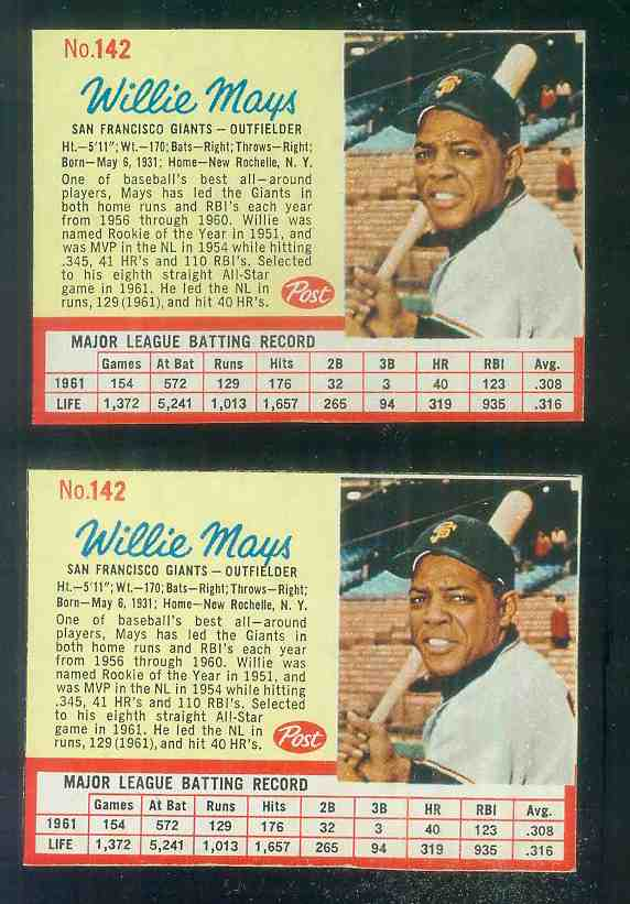 1962 Post #142 Willie Mays (Giants) Baseball cards value