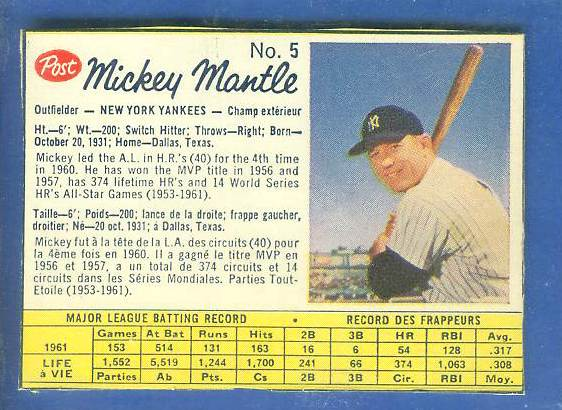 1962 Post Canadian #..5 MICKEY MANTLE  (Box var.) [#a] (Yankees) Baseball cards value