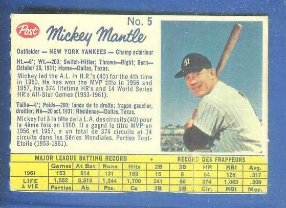 1962 Post Canadian #..5 MICKEY MANTLE (Company var.) [#a] (Yankees) Baseball cards value