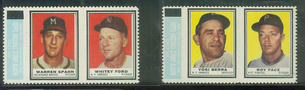 WARREN SPAHN/WHITEY FORD - 1962 Topps STAMP PANEL with TAB !!! Baseball cards value