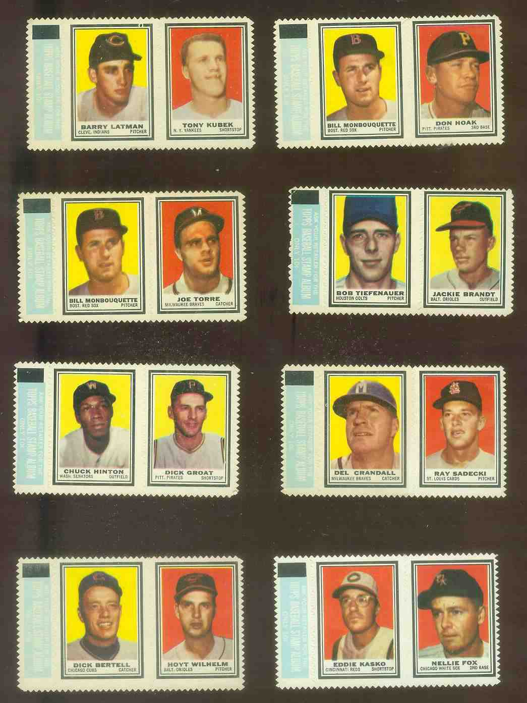 Bill Monbouquette/JOE TORRE ROOKIE - 1962 Topps STAMP PANEL with TAB !!! Baseball cards value