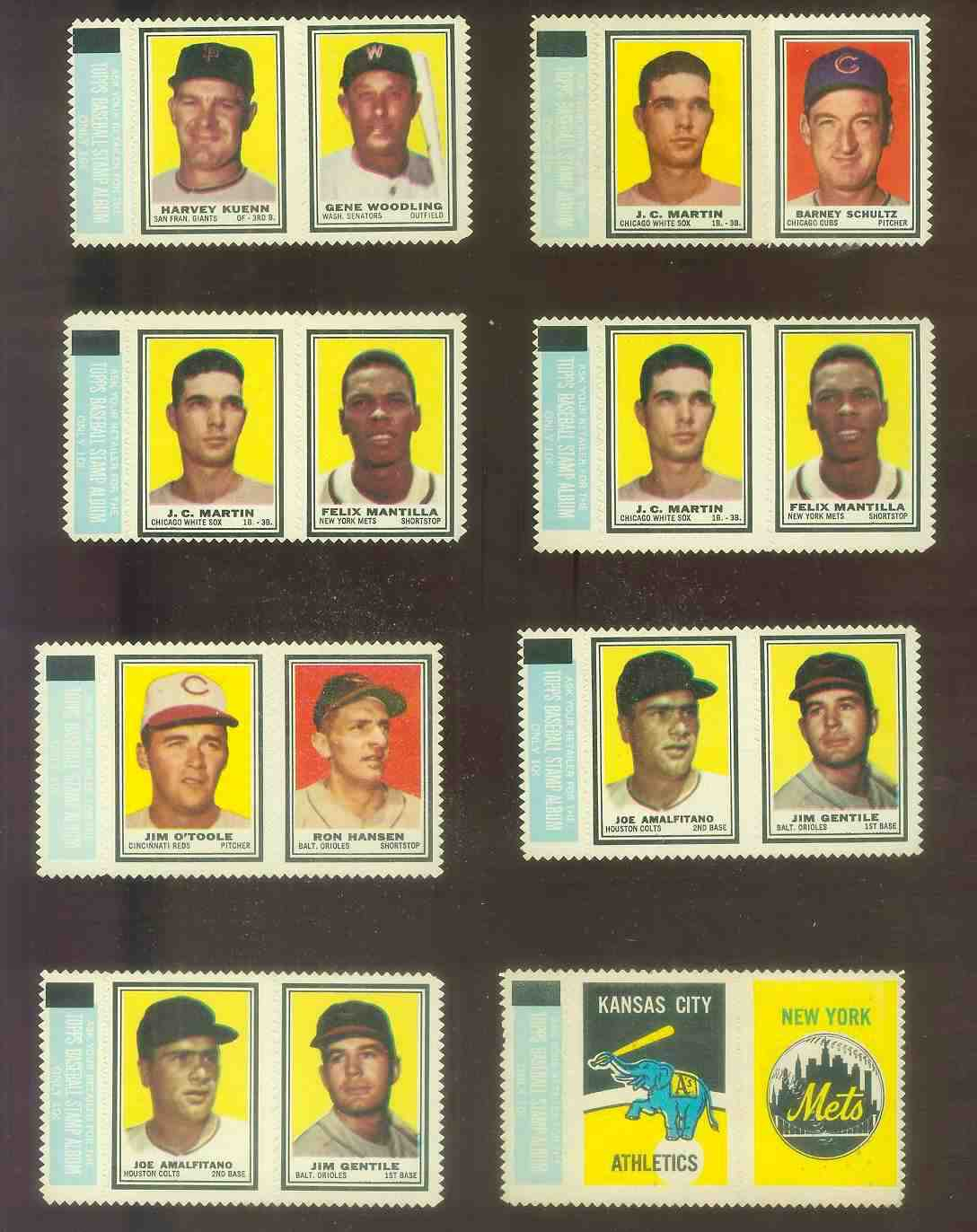 Joe Amalfitano/Jim Gentile - 1962 Topps STAMP PANEL with TAB !!! Baseball cards value