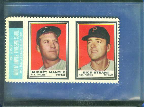 MICKEY MANTLE - 1962 Topps Stamps w/Dick Stuart COMPLETE 2-STAMP PANEL Baseball cards value