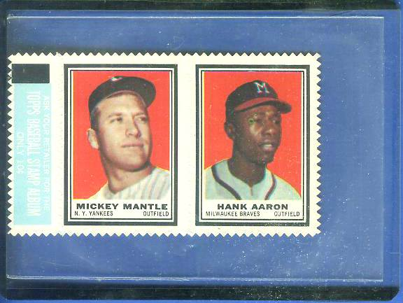 MICKEY MANTLE - 1962 Topps Stamps w/Hank Aaron COMPLETE 2-STAMP PANEL Baseball cards value
