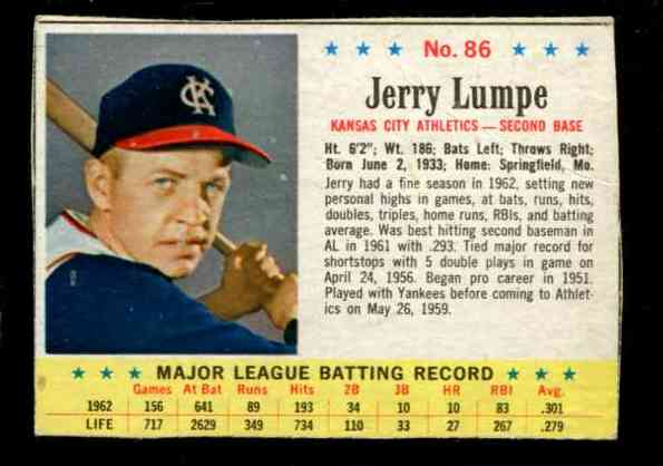 1963 Post #.86 Jerry Lumpe RARE SHORT PRINT (Kansas City A's) Baseball cards value