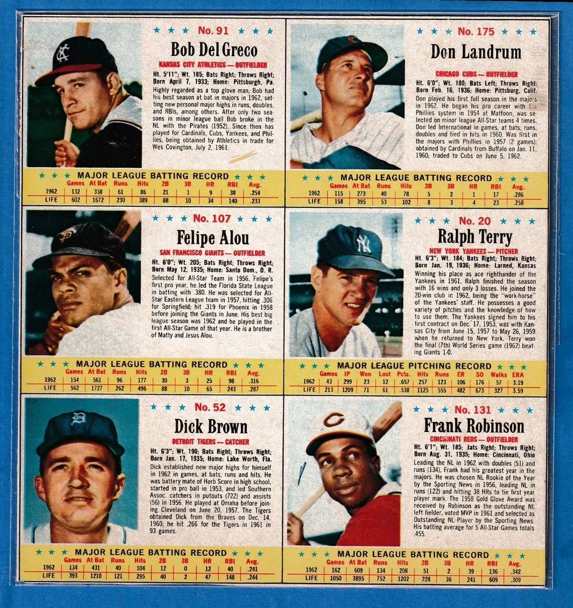 1963 Post Cereal - COMPLETE 6-Card PANEL w/ERNIE BANKS (Cubs) Baseball cards value