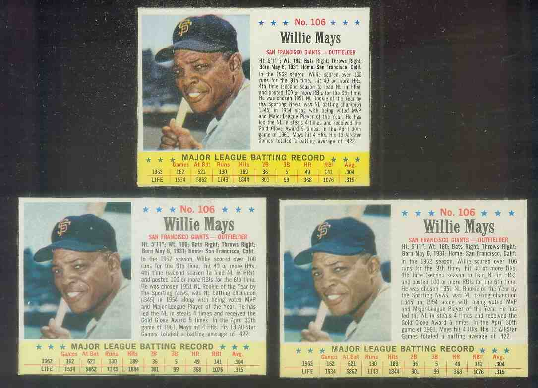 1963 Jello #106 WILLIE MAYS (Giants) Baseball cards value