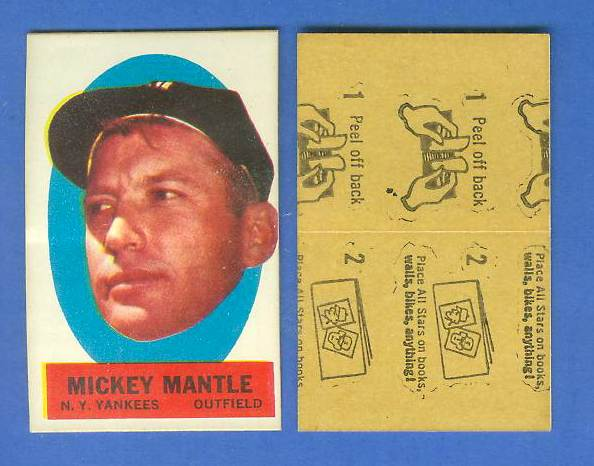 1963 Topps Stick-Ons 'Instructions-Back' - Mickey Mantle Baseball cards value