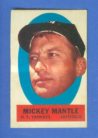 1963 Topps Stick-Ons 'Blank-Back' - Mickey Mantle Baseball cards value