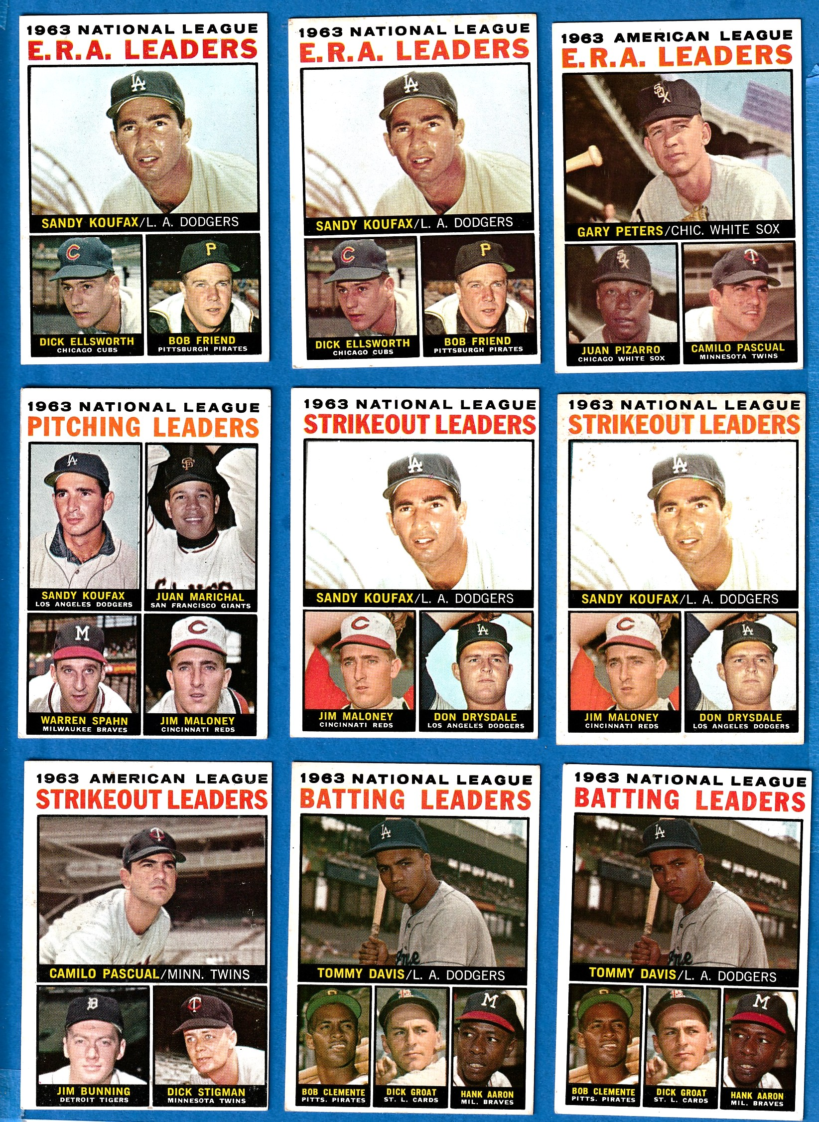 1964 Topps #  3 N.L. Pitching Leaders [#b] (Sandy Koufax/Juan Marichal) Baseball cards value