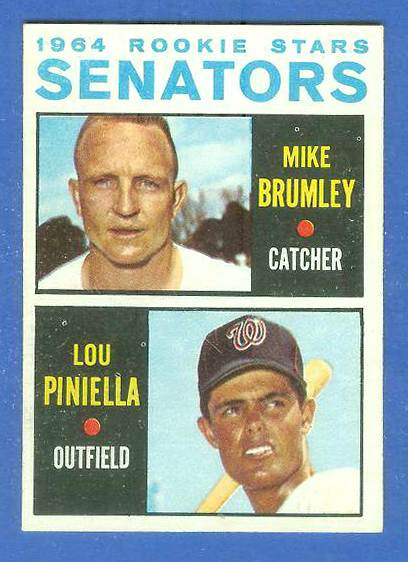 1964 Topps #167 Lou Piniella ROOKIE w/Mike Brumley [#a] (Senators) Baseball cards value