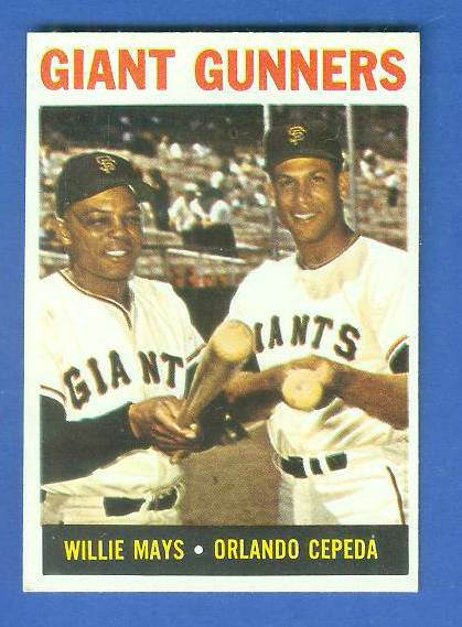 1964 Topps #306 'Giant Gunners' [#c] (Willie Mays/Orlando Cepeda) (Giants) Baseball cards value