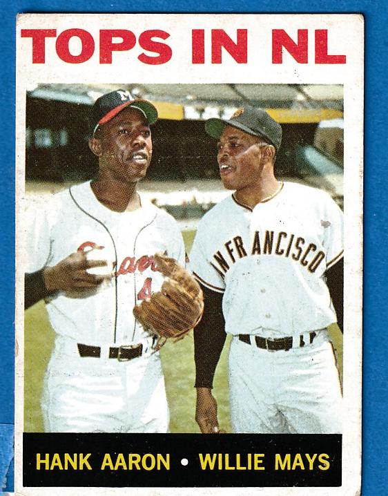 1964 Topps #423 'Tops in N.L.' [#r] (Hank Aaron/Willie Mays) (Braves/Giants Baseball cards value