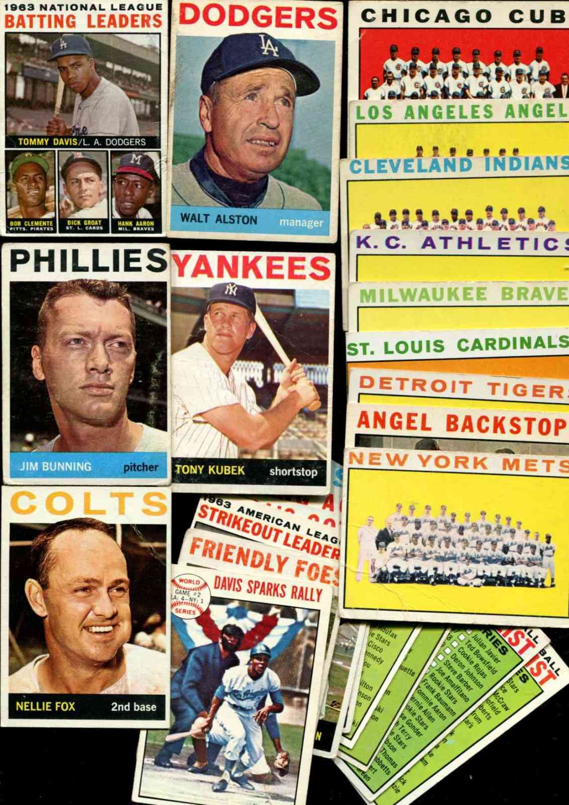1964 Topps - Lot (190) diff. with Hall-of-Famers,Team cards,specials ... Baseball cards value