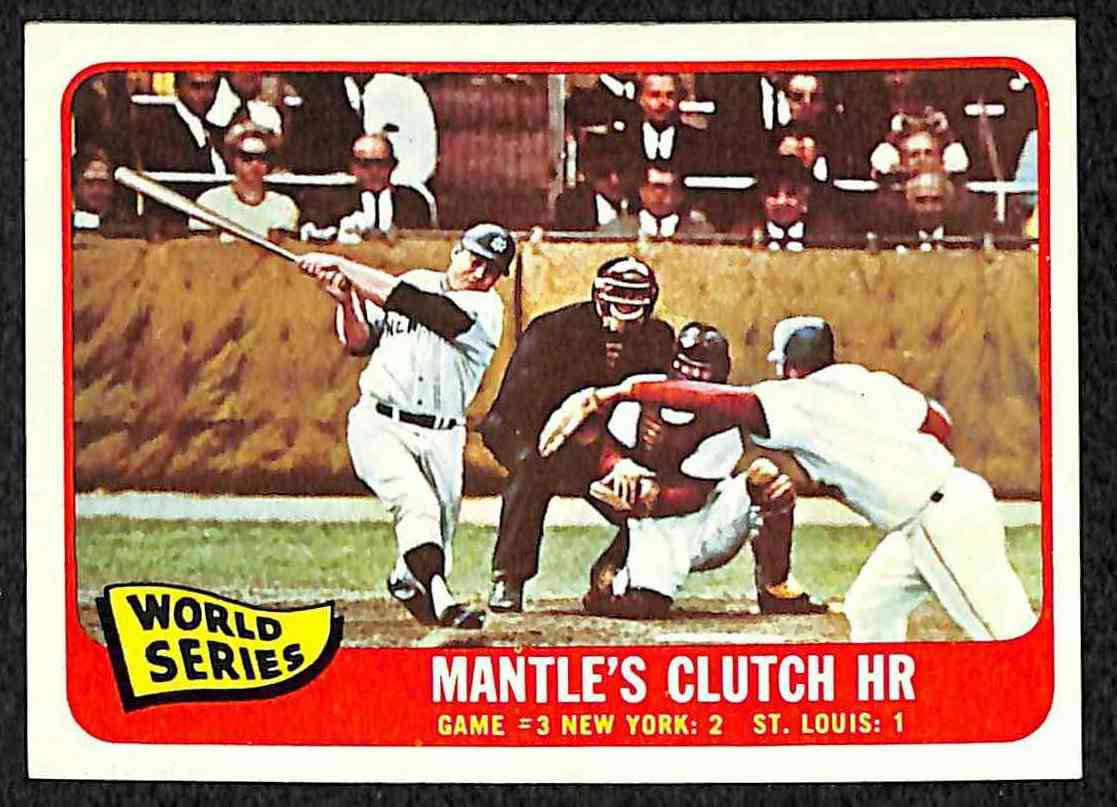 1965 Topps #134 Mickey Mantle - World Series Game #3 (Yankees/Cardinals) Baseball cards value