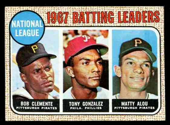 1968 Topps #  1 N.L. Batting Leaders (Roberto Clemente) Baseball cards value