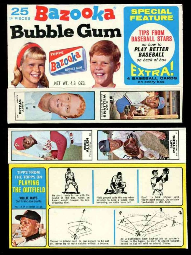 1968 Bazooka #14 WILLIE MAYS NEAR COMPLETE BOX 'Playing Outfield' (Giants) Baseball cards value