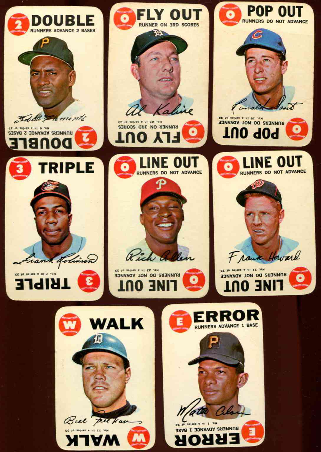 1968 Topps GAME  - Starter Set [#x]-Lot of (8) w/ROBERTO CLEMENTE & more Baseball cards value