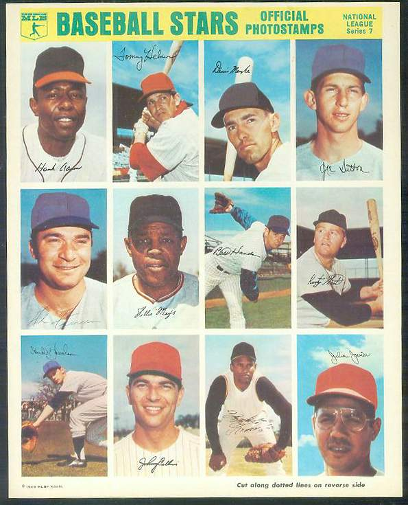 1969 MLBPA Official Stamps - COMPLETE SHEET of (12) with MAYS, CLEMENTE .. Baseball cards value