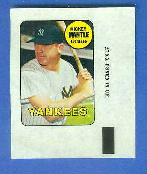 1969 Topps DECALS #23 Mickey Mantle [#a] (Yankees) Baseball cards value